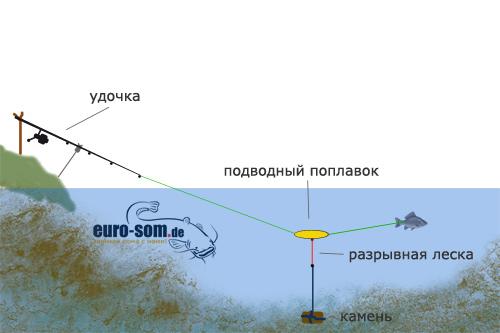 как сделать оснастку для ловли сома с берега